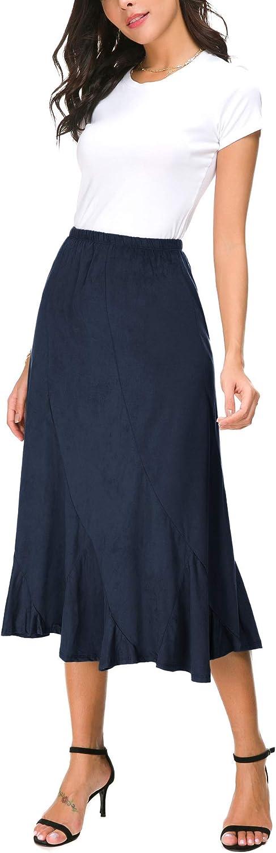 EXCHIC Women's Elegant Ankle Length Ruffle Hem Elastic Waist Midi Maxi Skirt