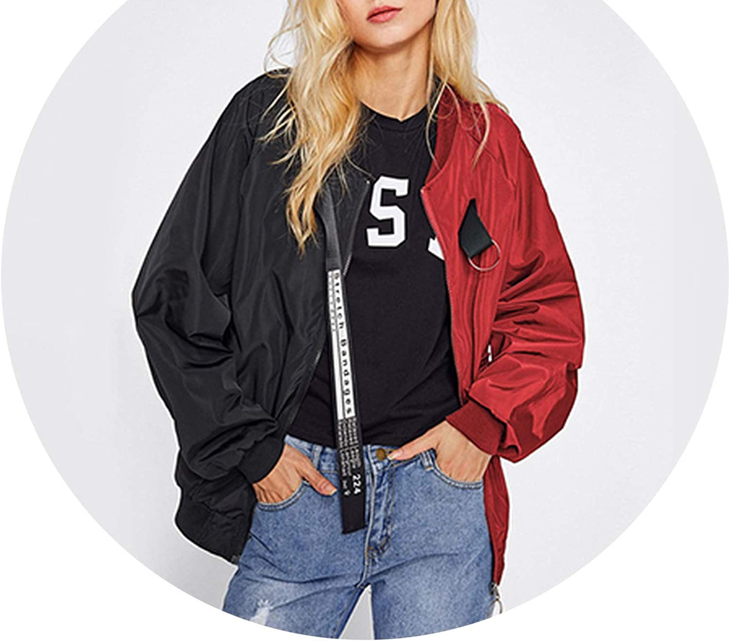 Pursuitofself 2018 New Ribbon Zip Up Jacket Patchwork Casual Bomber Jacket