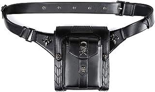 JIAJIA PU Punk/Rock Outdoor Sports Ladies Bag Tactical Male Pockets Skull Female Bag Mobile Phone Messenger Bag Soft face Female Motorcycle Bag Black Sports (Color : Black)