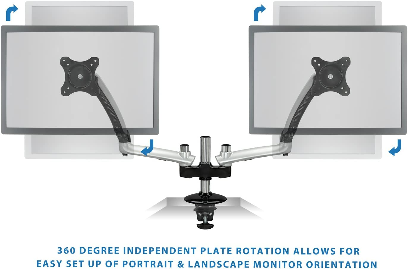 Mount-It! Dual Monitor Arm Premium Gas Spring Desk Mount with Height Adjustment, Fits Up to 27 Inch Computer Monitors