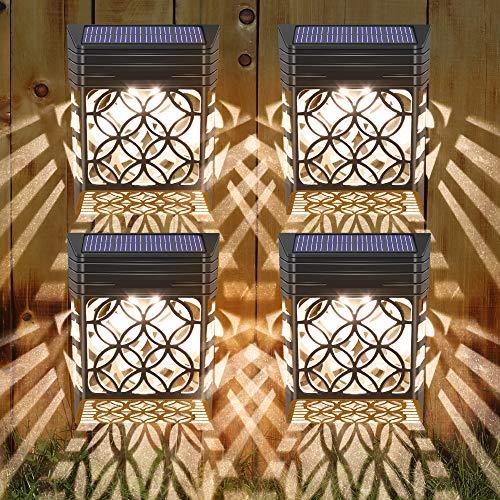 Solarleuchten für Außen, 4 Stück Solar Wandleuchten Garten Wandleuchte Aussen Solarlicht Garten mit Hohlem Design Solarleuchte Wand Wasserdichte Solarlampen für Garten Deko für Zaun, Einfahrt, Garage