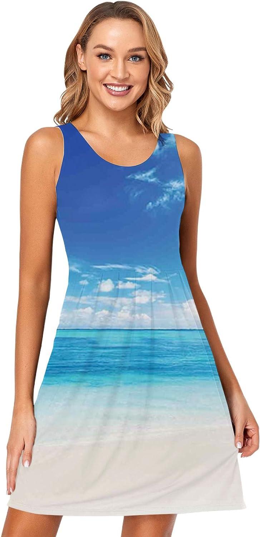 niBBuns Womens Summer Dresses Soft Loose Casual Sleep Short Dresses Sleeveless Home Night Shirt Dresses with Pockets