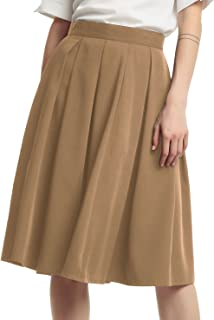 Women's Double Waist Side Buttons Pleated Skirt