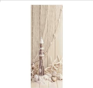 Ylljy00 Decorative Privacy Window Film/Marine Theme Sea Stars and Shells Underwater Life Wooden Lighthouse/No-Glue Self Static Cling for Home Bedroom Bathroom Kitchen Office Decor Beige Cream
