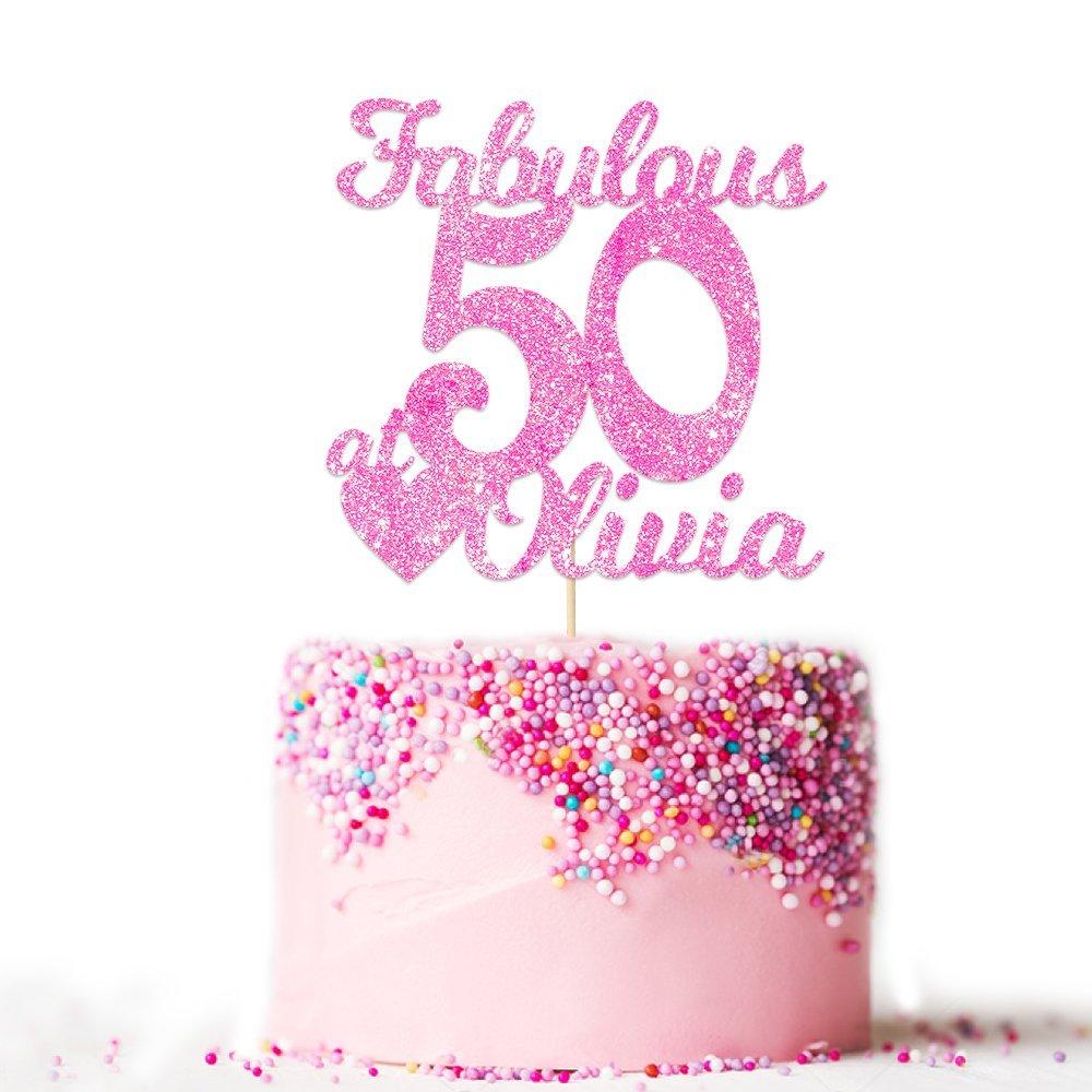 Fabulosa decoración para tarta de 50 cumpleaños, fabulosa decoración para tartas, personalizada con cualquier nombre y edad: Amazon.es: Hogar