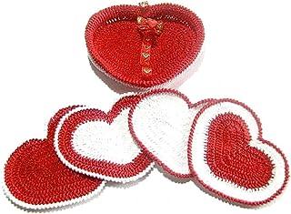 Set 4 posavasos rojos y blancos con cesta de ganchillo - Tamaño: 13 cm x 9 cm H - Handmade - ITALY