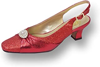 Floral FIC Elaine Women Wide Width Evening Dress Shoe for Wedding, Prom, and Dinner Red