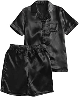 maweisong Men Nightgown Short Sleeve Satin Pajama Set with Shorts 2-Piece Suit