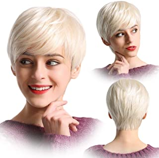 Menoqi Platinum Blonde Wigs for Women Short Bob Hair Wig with Bangs Natural Costume Synthetic Wigs for Daily Party (Blonde) WIG185