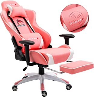 KARXAS Ergonomic Gaming Chair High-Back Racing Style Gamer Chair PU Leather Height Adjustable Computer Desk Chair with Massage Lumbar Recliner Footrest and Headrest(Pink)