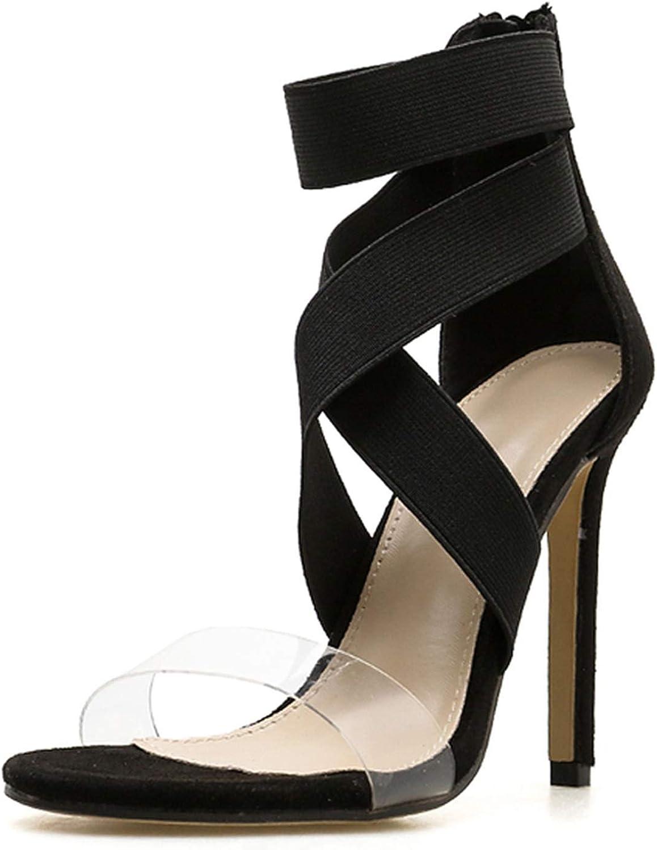 Ches Gladiator Sandals Women Club Party Sexy Stretch Fabric Zipper Sandals shoes Thin Heels Sandalias Feminina,Black,4