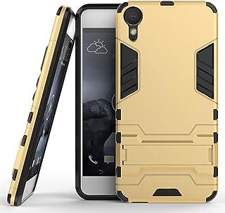 Funda para HTC Desire 10 Lifestyle (5,5 Pulgadas) 2 en 1 Híbrida Rugged Armor Case Choque Absorción Protección Dual Layer Bumper Carcasa con pata de Cabra (Dorado)