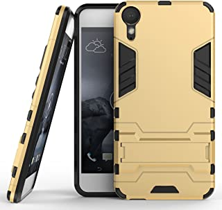 Case for HTC Desire 10 Lifestyle (5.5 inch) 2 in 1 Shockproof with Kickstand Feature Hybrid Dual Layer Armor Defender Protective Cover (Gold)
