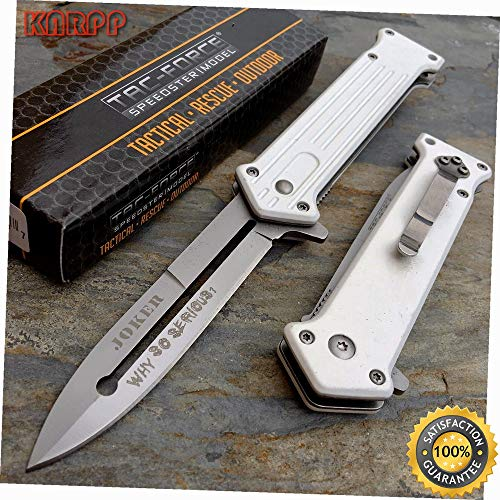 White Handle Joker Why So Serious? Camping Outdoor Pocket Knife - Outdoor Camping perfect For Hunting EDC EMT