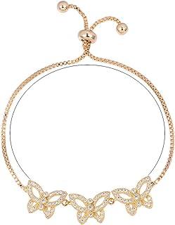 WeimanJewelry Cubic Zirconia CZ Adjustable Bracelet with 3 Gemstone Butterflies for Women Wedding Gift Idea