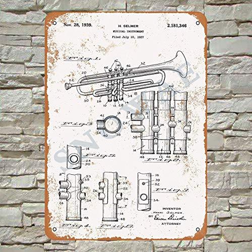 Snowae 1939 Selmer Trompete Patent Metal Poster Wand rostfrei Aluminium wetterfest Dekor Home Wall Art Decor Retro Vintage Blechschild 30,5 x 20,3 cm