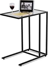 TANGKULA 26 Sofa Side Table Snack Table, Solid Glass Heavy Duty Portable Living Room Bedroom Couch C Table End Table Laptop Desk Coffee Tray