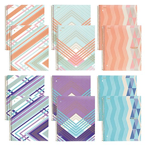 """Five Star Spiral Notebooks, 1 Subject, College Ruled Paper, 100 Sheets, 11"""" x 8-1/2"""", Graphics Design, 12 Pack (38509)"""