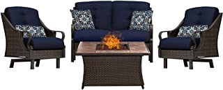 Hanover VEN4PCFP-NVY-TN 4 Piece Ventura Fire Pit Chat Set in Navy Blue Outdoor Luxury Recliner, Stone Top