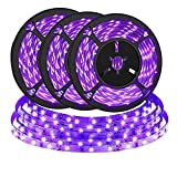 BRTLX ブラックライト LEDテープライト USB給電 5V 200cm 3本入 紫色の光 雰囲気ライト 両面テープ395nm~400nm 正面発光 ステージ照明 クリスマスライト ハロウィンパーティー装飾