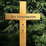 LASERfein Grabkreuz, Übergangskreuz 120x54cm, mit Gravur aus massiver Eiche