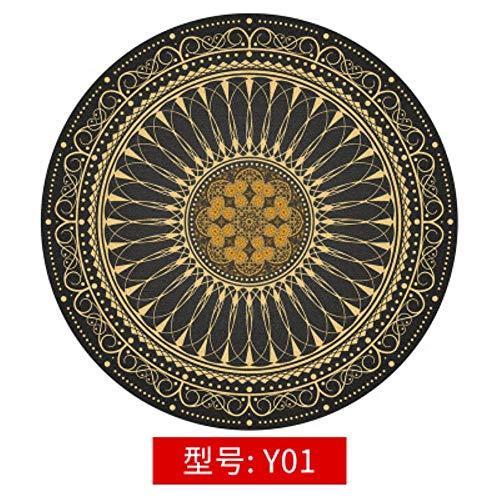 LCZMQRCLMZRQVintage etnische stijl Boheems rond tapijt Slaapkamer nachtkastje Computer draaistoel vloermat Hangende mand mat, Y01,80cm