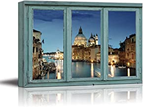 wall26 - Canvas Wall Art - 3 Frame Window Looking into a City with a Church at Night Beside a River - Giclee Print Gallery Wrap Modern Home Decor Ready to Hang - 24x36 inches
