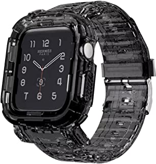 Transparent Silicone Shockproof Watch Band & Case Size (42/44 mm) For Apple Watch Series 1/2/3/4/5/6 - Black