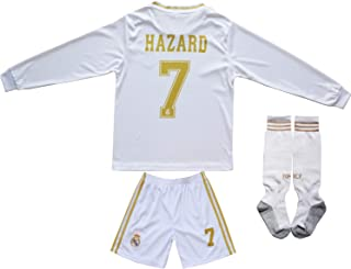 SecenMerch 2019/2020 New Hazard No #7 Real Madrid Home White Kids Long Sleeve Soccer Jersey Kit Shorts Socks Set Youth Sizes