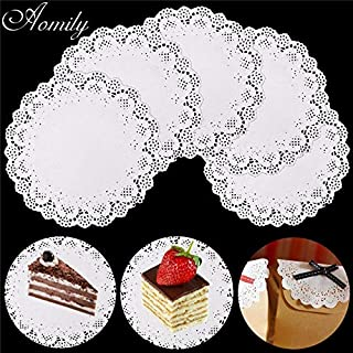 Aomily 120pcs/Set White Round Mousse Cake Lace Paper Doilies Plates Mats Coasters Placemats Wedding Events Party Table Gift Bag