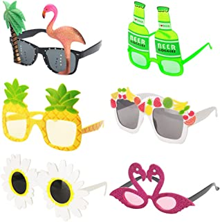 Ocean Line Novelty Party Sunglasses - 6 Pairs Creative Funny Eyewear, Luau Tropical Party, Fancy Dress Party Supply, Perfect Hawaiian Themed Eyeglasses for Kids & Adults