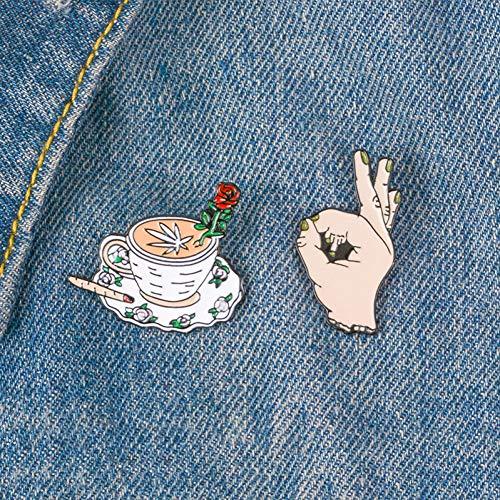 WYLBQM Broche 18 Jahre 2 Teile/Satz Kaffee und Finger pins mittelfinger SI Rosa kaffeetasse Punk pins lustige broschen Revers Abzeichen