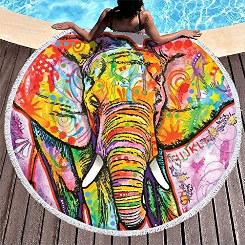Gamoii - Toalla de playa redonda, diseño de elefante, manta de pícnic, toalla de playa, toalla de sauna, con borla, para adultos, niños y nadar, poliéster, blanco, 150 cm