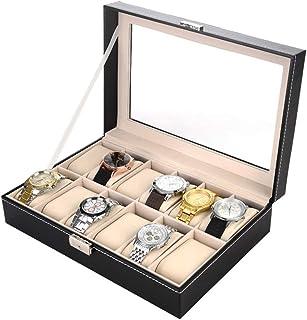 Watch Box Organizer for Men 12 Slot, Watch Display Organizer Jewelry Box Slot Pu Leather Mens with Glass Top