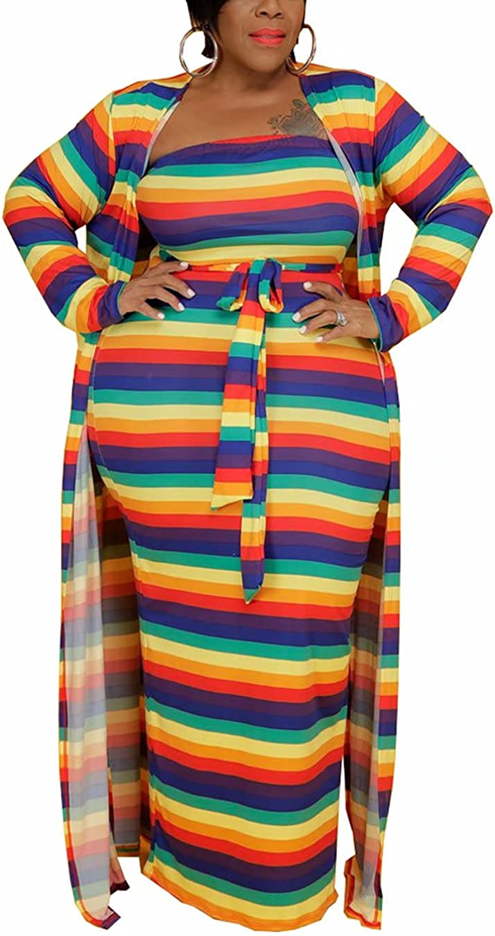 Women Plus Size Sexy Two Piece Outfits Printed Off Shoulder Tie Waist Tube Sundress Flowy Maxi Cardigan Set Tracksuit
