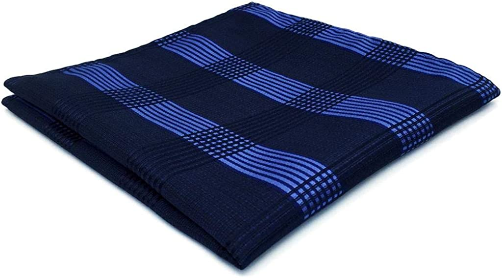 SHLAX&WING Plaids Checkered Blue Navy Mens Hanky Pocket Square Silk Business