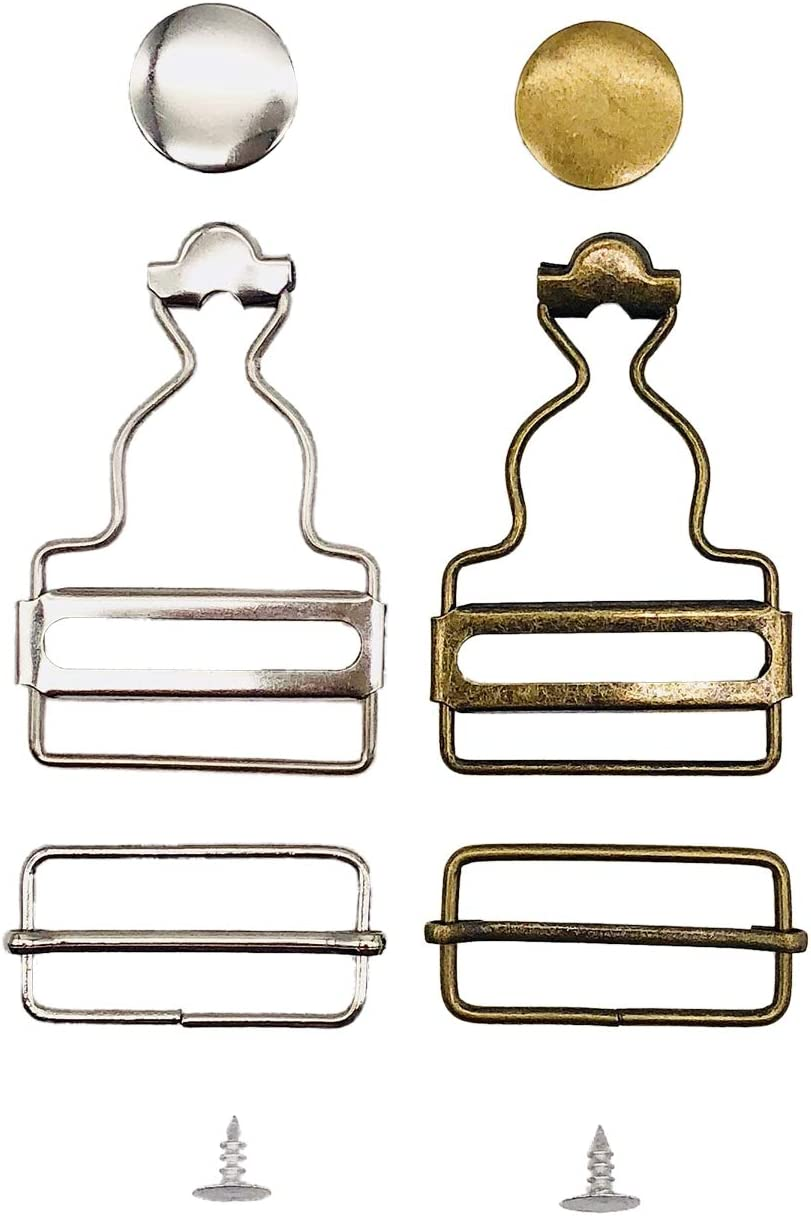 Pack of 2 Sets Nickel and 2 Sets Antique Brass Chris.W Overall Buckles Suspenders Replacement Buckle with Rectangle Buckle Sliding /& No-Sew Buttons for 1 Inch Straps