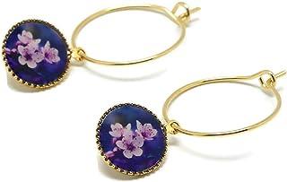 Mini orecchini a cerchio fiore di ciliegio giappone viola oro rosa ottone dorato oro 24 K perline resina regali di natale ...
