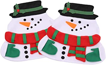 Zerowin Snowmen Place Mats and Red Napkins Novelty Decor Silverware Holder Cover Placemat , Puting Plates Forks Knives Napkin Holding, Pack of 2pcs Placemats and 2psc Red Napkins