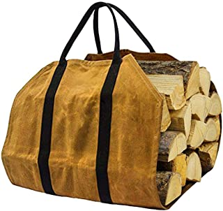 skyfiree Firewood Bag Carrier Log Carrier for Firewood Large Canvas Log Tote Bagwith Handle Waxed Canvas Wood Carrier Dur...
