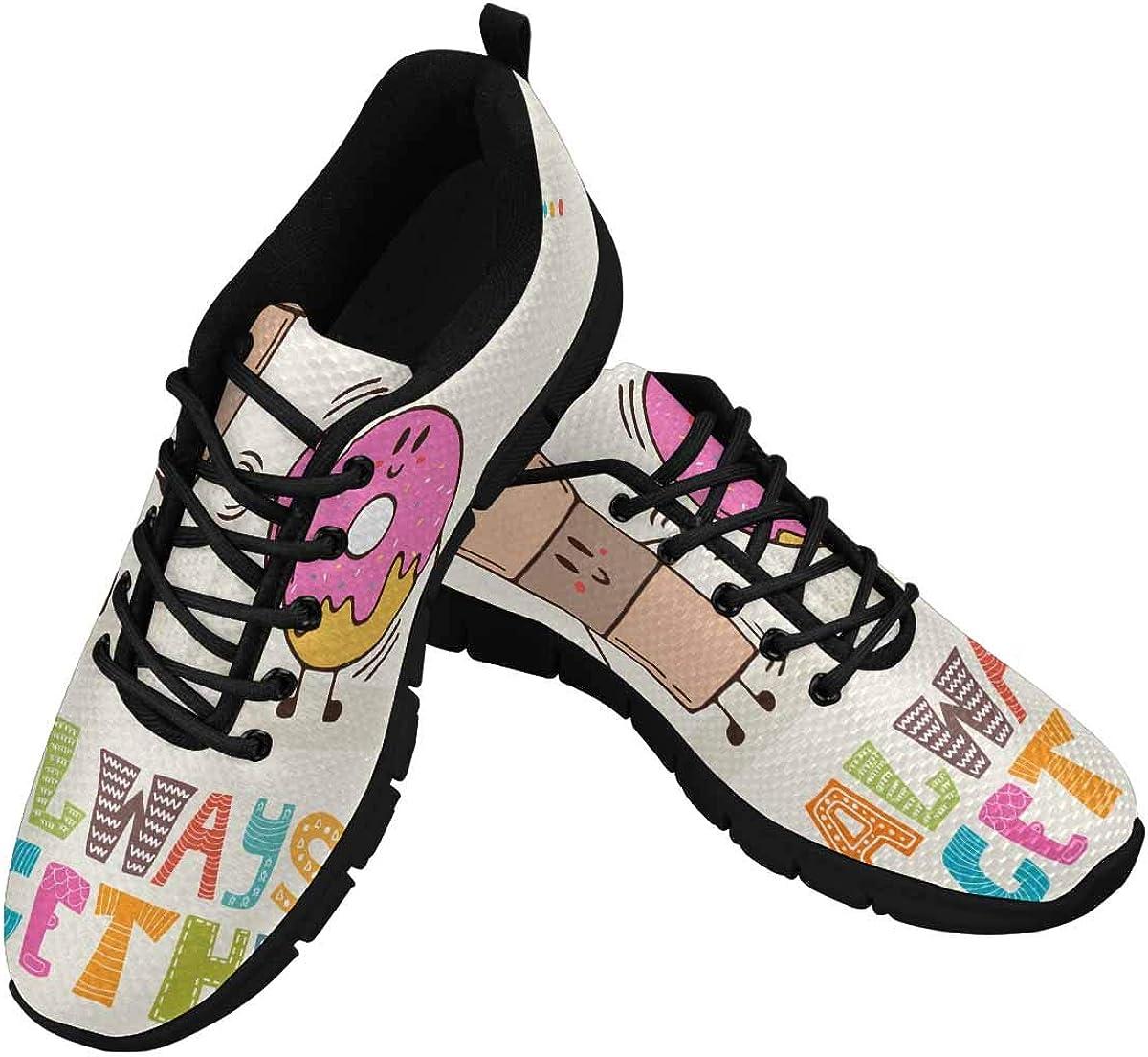 InterestPrint We Like Always Together Pattern Women's Athletic Walking Shoes Casual Mesh Comfortable Work Sneakers