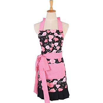FirstKitchen 100% Cotton Apron with Pocket,Aprons for Women,Pink Morning Glory Pattern Apron