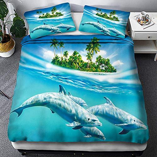Juego de Funda de edredón delfín Mar Isla Impresa en 3D Fundas nordicas 260 x 240 cm con Cremallera con 2 Fundas de Almohada Suave en poliéster para Cama matrimonial