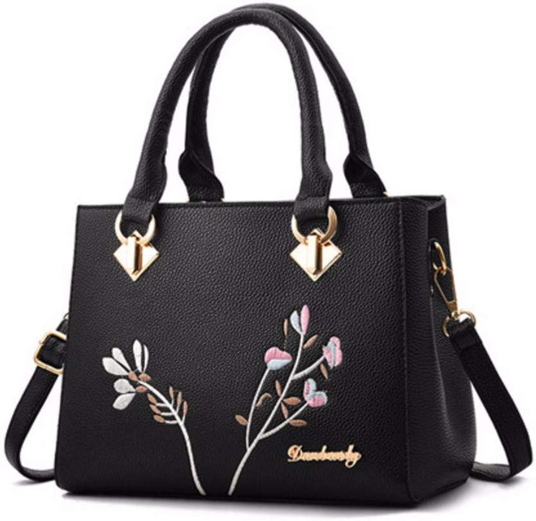 JQSM Embroidery Women Leather Bag Handbag Flower Bag for Women 2019 Messenger Bag Ladies Hand Bags
