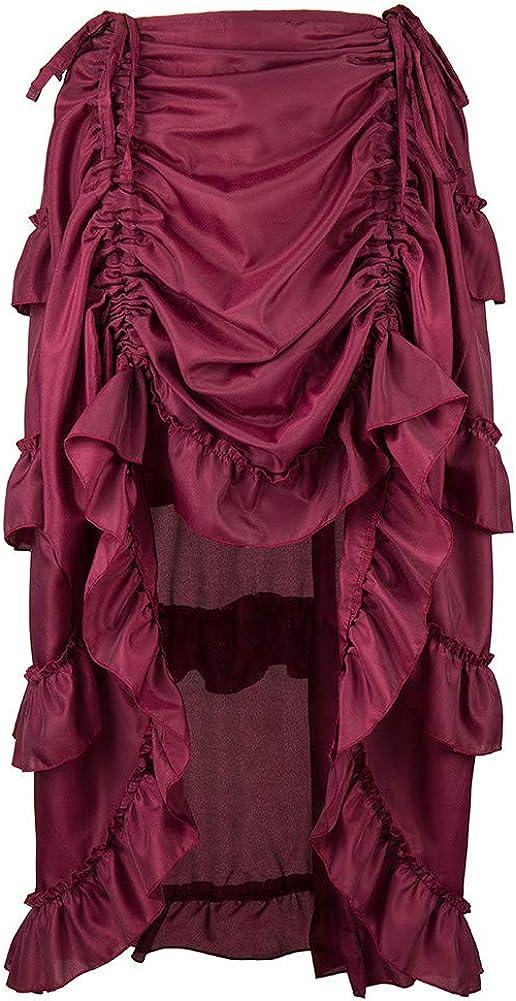 Women's Steampunk Gothic Skirt Victorian Ruffles Pirate Vintage