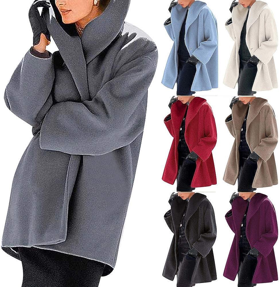 Yesgirl Damen Mäntel Schalkragen Casual Mantel Revers Lange Ärmel Winterjacke Einfarbig Mode Lange Coat Warme Outwear Elegant Einreiher Cardigan Jacke Oberbekleidung Grau