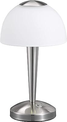 TRIO, Lampe de table, Ventura incl. 1 x LED,SMD,5,0 Watt,3000K,400 Lm. Verre satiné, Blanc, Corps: metal, Nickel mat Ø:15,5cm, H:28,0cm IP20,Interrupteur tactile 4 niveaux