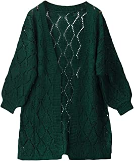 Womens Elegant Open Front Long Sleeve Hollow Out Knitted Long Cardigan Sweaters