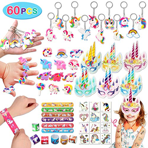 Golray 60 Pack Unicorn Party Favors Supplies Unicorn Slap Bracelets Mask Rings Keychains Tattoos Rainbow Unicorn Gifts Toys Birthday Party Favors Goodie Bags Fillers
