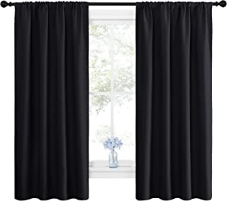 NICETOWN Black Blackout Curtain Blinds - Solid Thermal Insulated Window Treatment Blackout Drapes/Draperies for Bedroom (2...